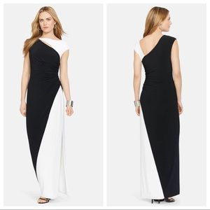 Ralph Lauren two toned cutout jersey gown